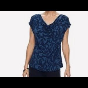 Dana Buchman Cowl Neck Short Sleeve Top